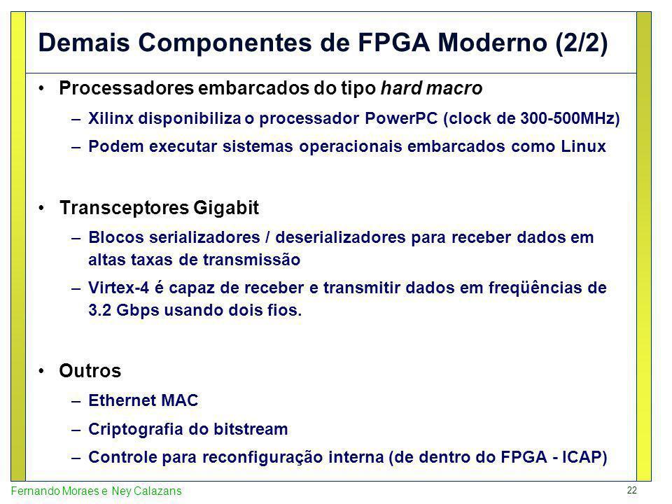 22 Fernando Moraes e Ney Calazans Demais Componentes de FPGA Moderno (2/2) Processadores embarcados do tipo hard macro –Xilinx disponibiliza o process