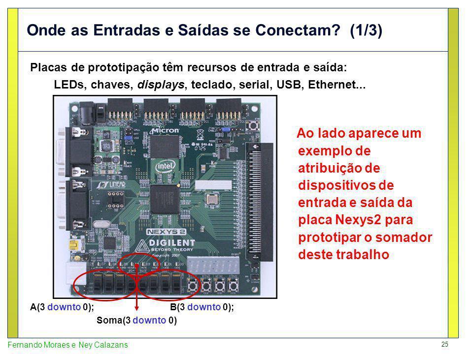 25 Fernando Moraes e Ney Calazans Onde as Entradas e Saídas se Conectam? (1/3) Placas de prototipação têm recursos de entrada e saída: LEDs, chaves, d