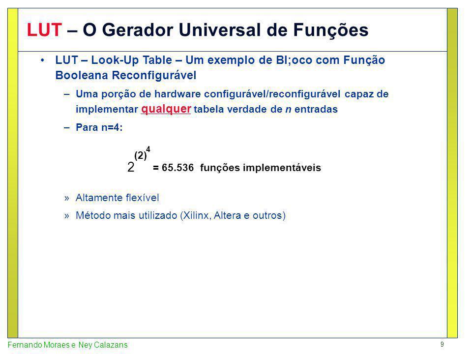 9 Fernando Moraes e Ney Calazans LUT – O Gerador Universal de Funções LUT – Look-Up Table – Um exemplo de Bl;oco com Função Booleana Reconfigurável –Uma porção de hardware configurável/reconfigurável capaz de implementar qualquer tabela verdade de n entradas –Para n=4: »Altamente flexível »Método mais utilizado (Xilinx, Altera e outros) 2 (2) 4 = 65.536 funções implementáveis