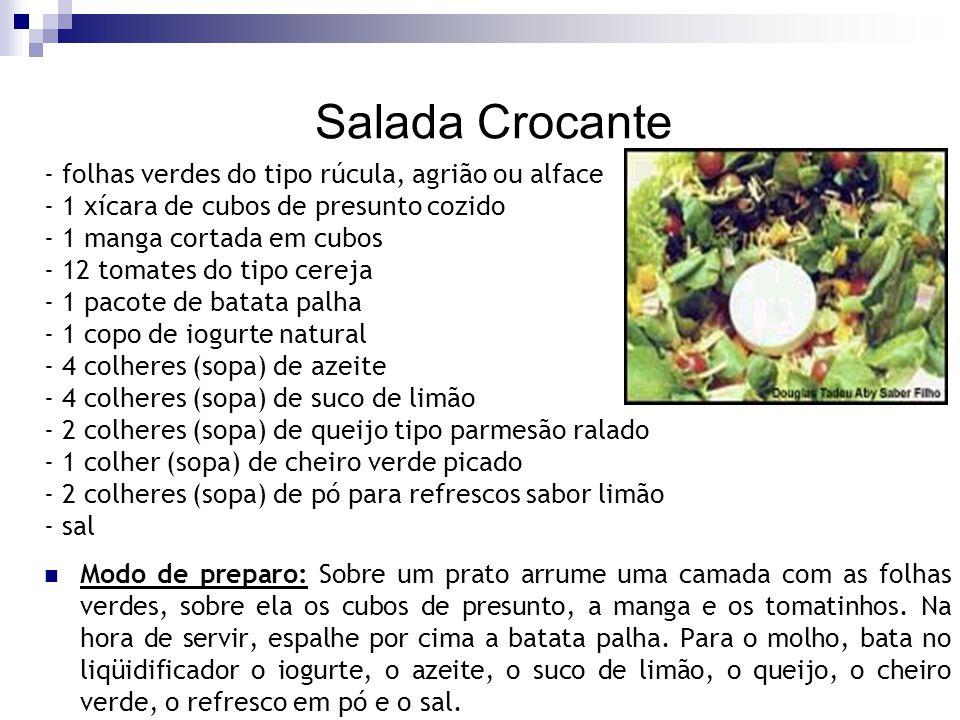 Salada Crocante - folhas verdes do tipo rúcula, agrião ou alface - 1 xícara de cubos de presunto cozido - 1 manga cortada em cubos - 12 tomates do tip