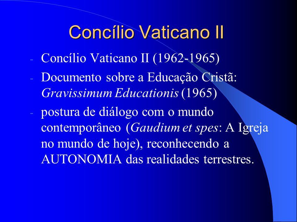 Concílio Vaticano II - Concílio Vaticano II (1962-1965) - Documento sobre a Educação Cristã: Gravissimum Educationis (1965) - postura de diálogo com o
