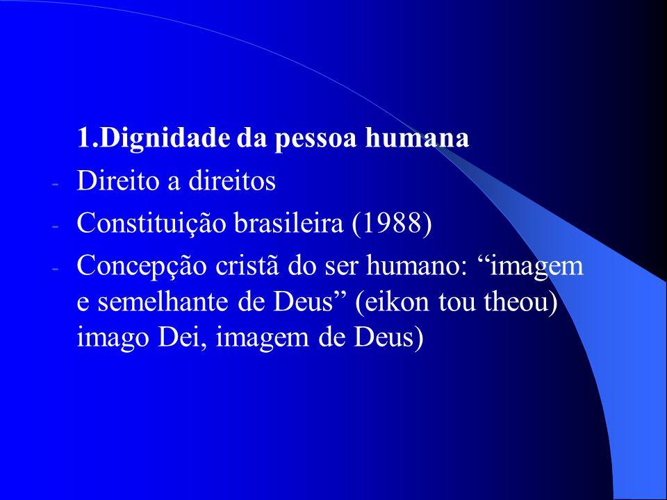 1.Dignidade da pessoa humana - Direito a direitos - Constituição brasileira (1988) - Concepção cristã do ser humano: imagem e semelhante de Deus (eiko