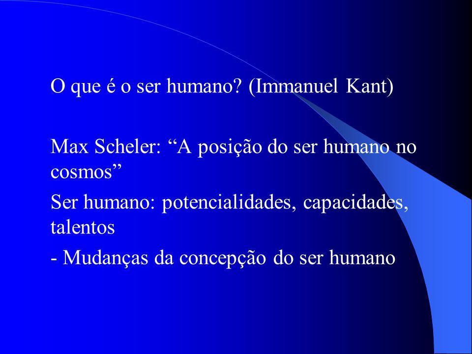O que é o ser humano? (Immanuel Kant) Max Scheler: A posição do ser humano no cosmos Ser humano: potencialidades, capacidades, talentos - Mudanças da
