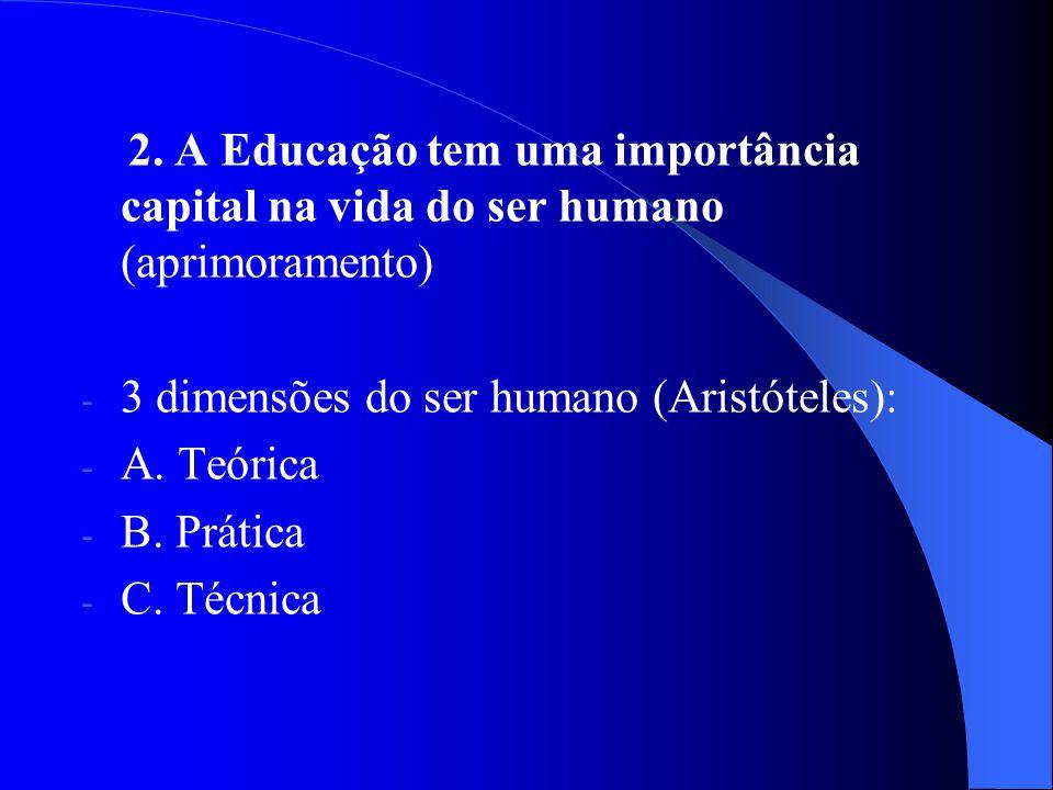 2. A Educação tem uma importância capital na vida do ser humano (aprimoramento) - 3 dimensões do ser humano (Aristóteles): - A. Teórica - B. Prática -