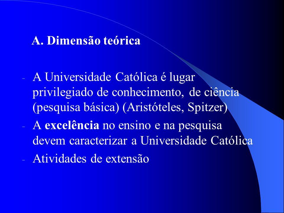 A. Dimensão teórica - A Universidade Católica é lugar privilegiado de conhecimento, de ciência (pesquisa básica) (Aristóteles, Spitzer) - A excelência