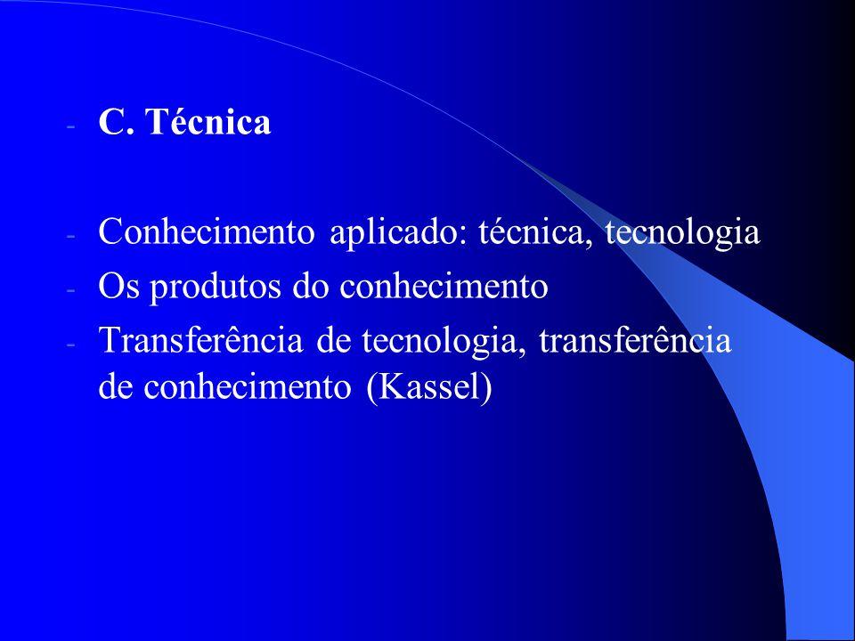 - C. Técnica - Conhecimento aplicado: técnica, tecnologia - Os produtos do conhecimento - Transferência de tecnologia, transferência de conhecimento (