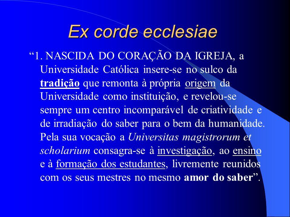 Ex corde ecclesiae 1. NASCIDA DO CORAÇÃO DA IGREJA, a Universidade Católica insere-se no sulco da tradição que remonta à própria origem da Universidad