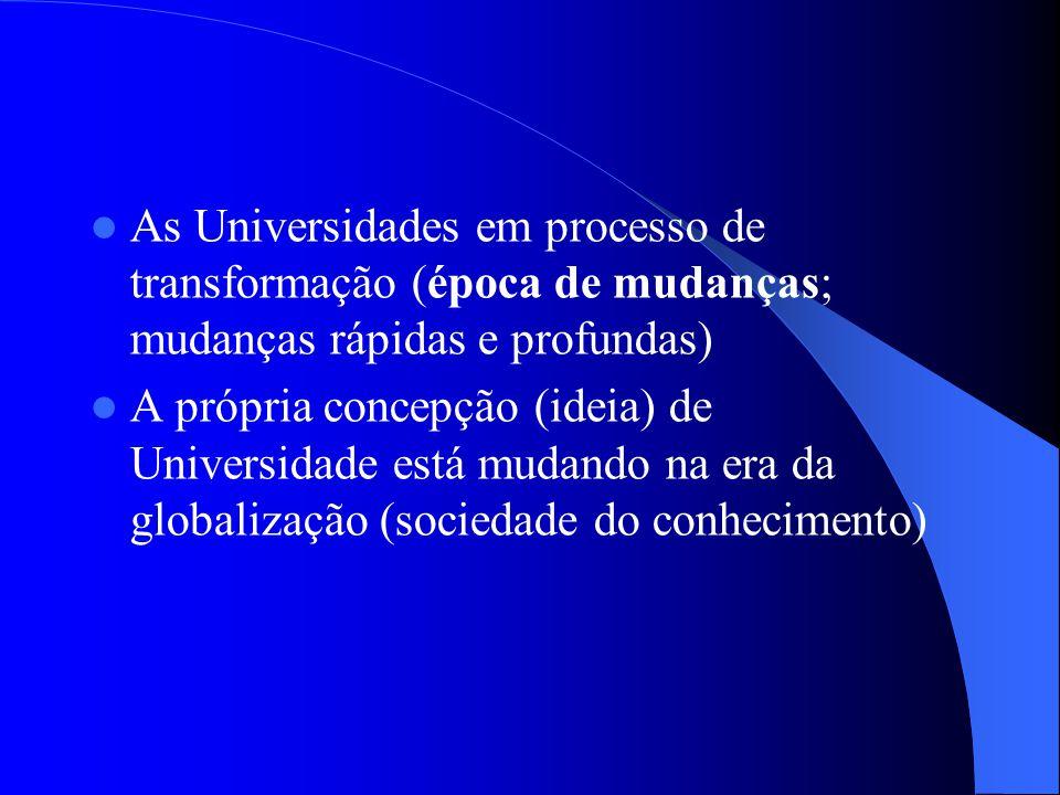 As Universidades em processo de transformação (época de mudanças; mudanças rápidas e profundas) A própria concepção (ideia) de Universidade está mudan