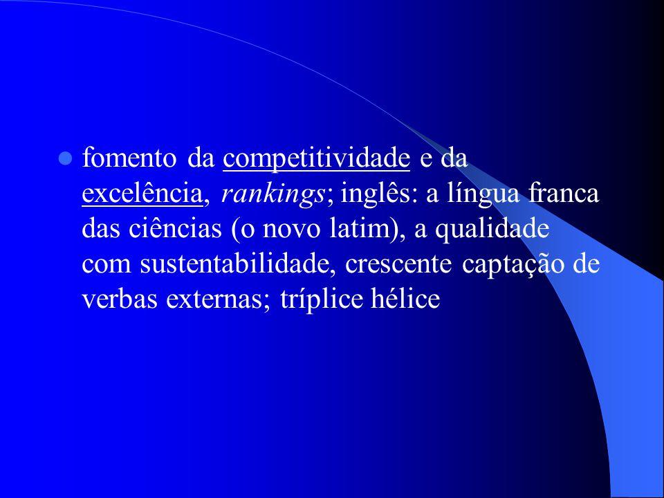 fomento da competitividade e da excelência, rankings; inglês: a língua franca das ciências (o novo latim), a qualidade com sustentabilidade, crescente
