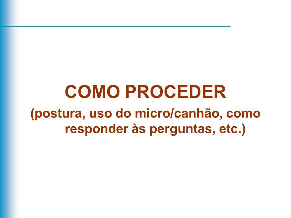 COMO PROCEDER (postura, uso do micro/canhão, como responder às perguntas, etc.)