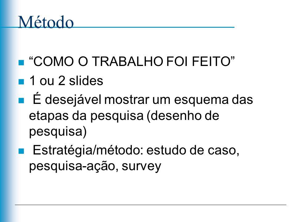 Método n COMO O TRABALHO FOI FEITO n 1 ou 2 slides n É desejável mostrar um esquema das etapas da pesquisa (desenho de pesquisa) n Estratégia/método: