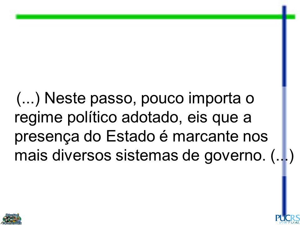 (...) Neste passo, pouco importa o regime político adotado, eis que a presença do Estado é marcante nos mais diversos sistemas de governo.