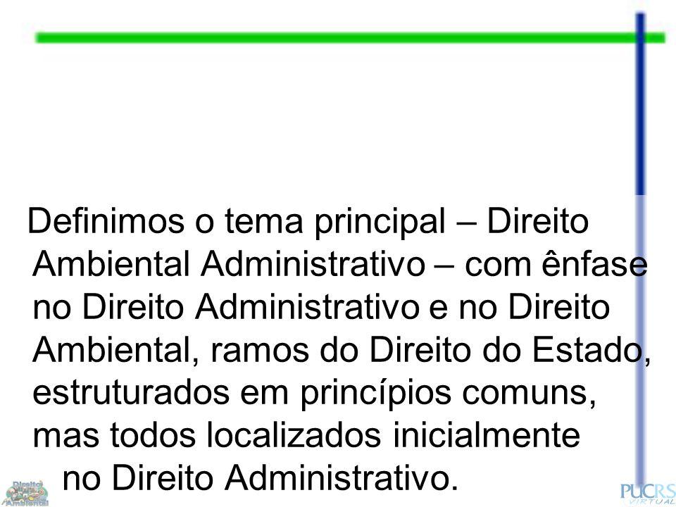 Definimos o tema principal – Direito Ambiental Administrativo – com ênfase no Direito Administrativo e no Direito Ambiental, ramos do Direito do Estado, estruturados em princípios comuns, mas todos localizados inicialmente no Direito Administrativo.