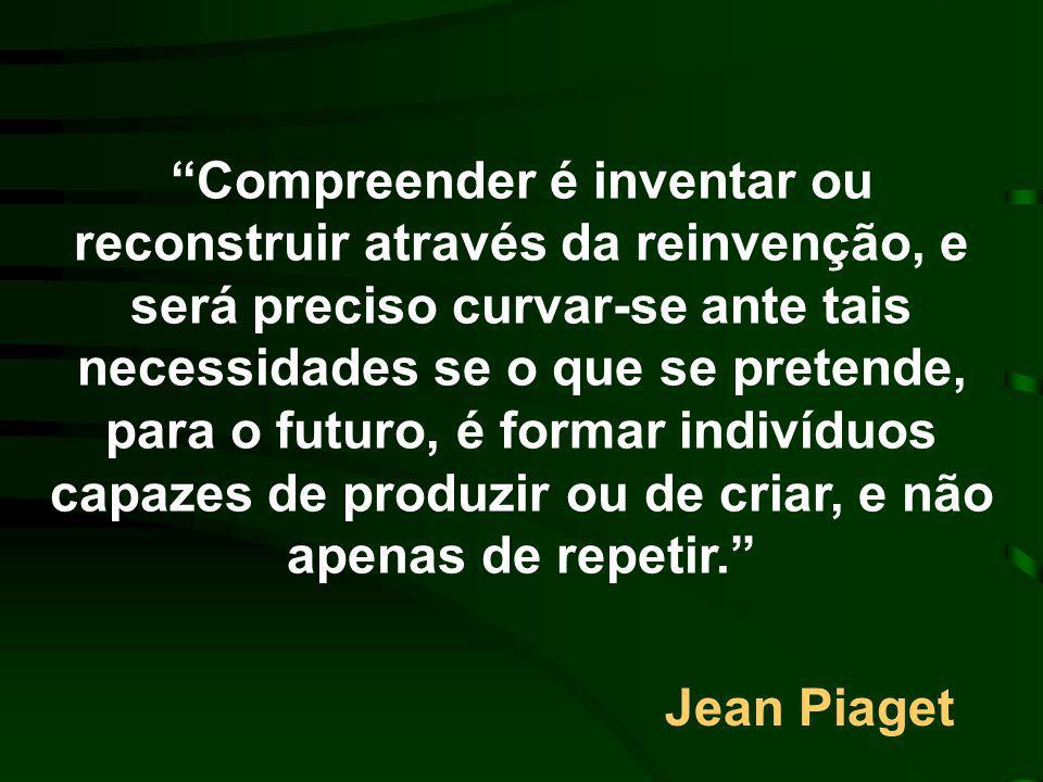Piaget (1896 - 1980) Epistemologia Cognitivismo Construtivismo O indivíduo pensa qualitativamente diferente nas diferentes fases do seu desenvolvimento