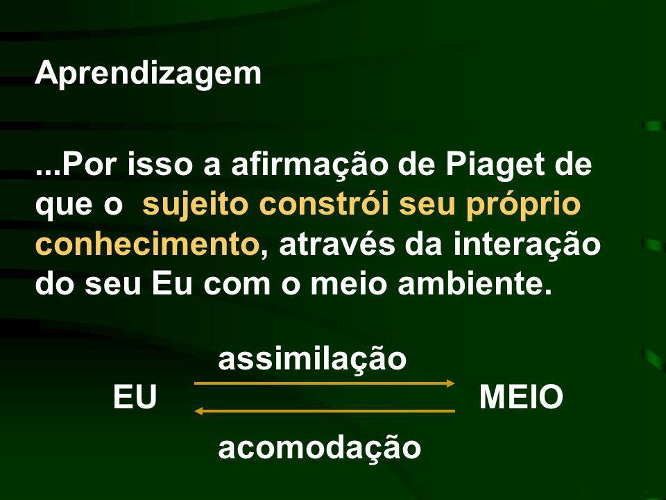...Por isso a afirmação de Piaget de que o sujeito constrói seu próprio conhecimento, através da interação do seu Eu com o meio ambiente.