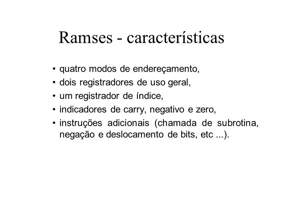 Ramses - características quatro modos de endereçamento, dois registradores de uso geral, um registrador de índice, indicadores de carry, negativo e ze