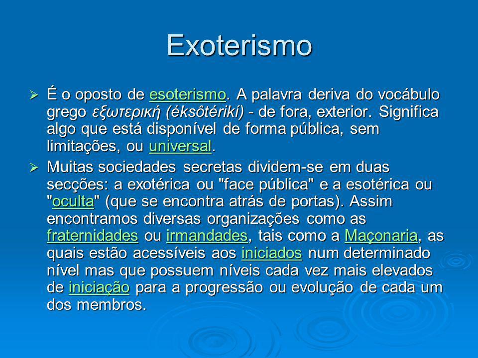 Exoterismo É o oposto de esoterismo. A palavra deriva do vocábulo grego εξωτερική (éksôtérikí) - de fora, exterior. Significa algo que está disponível