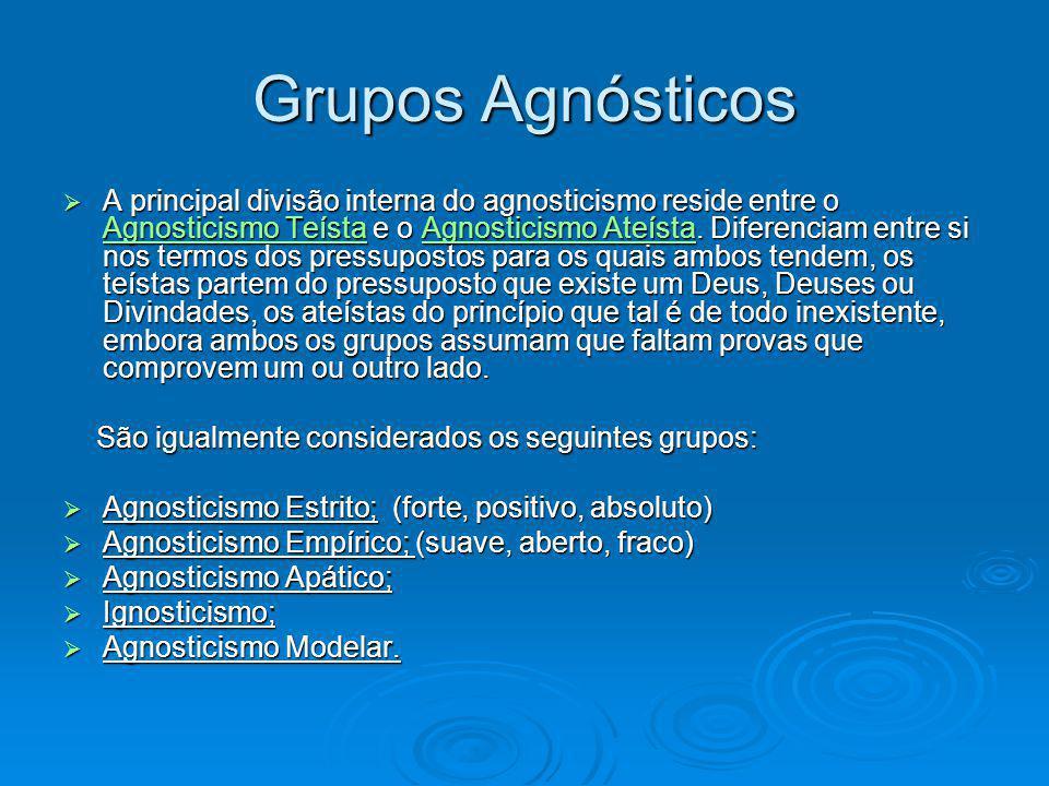 Grupos Agnósticos A principal divisão interna do agnosticismo reside entre o Agnosticismo Teísta e o Agnosticismo Ateísta. Diferenciam entre si nos te