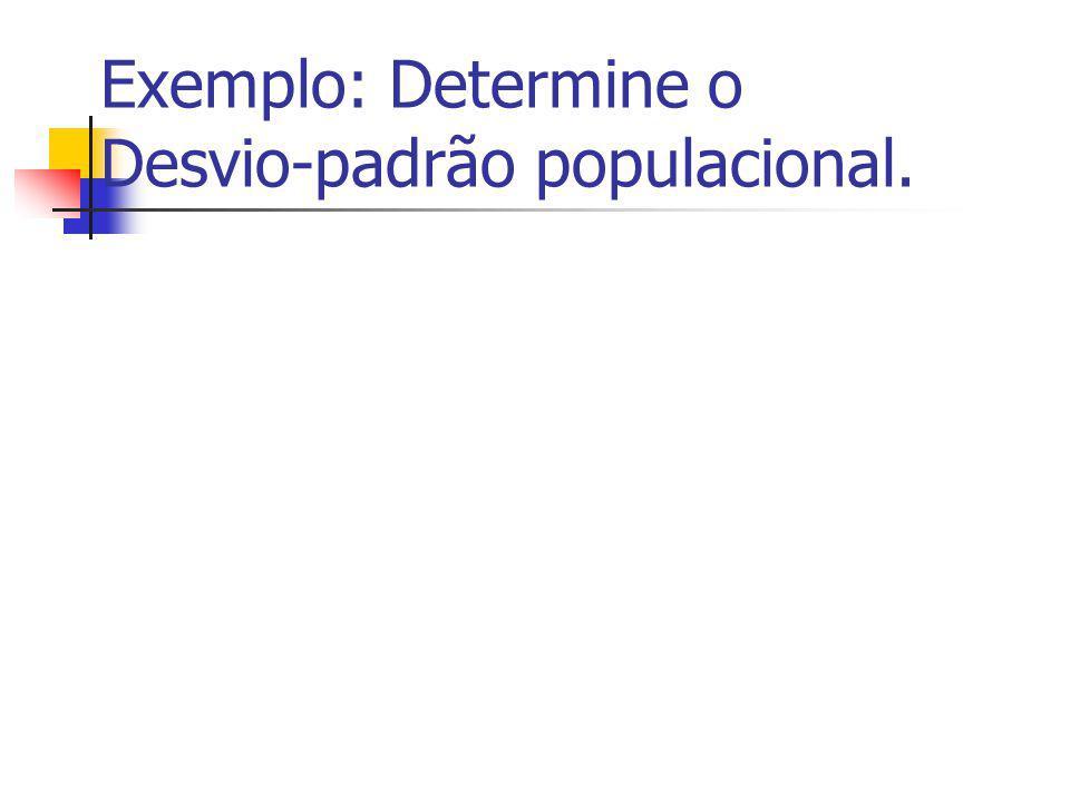 Desvio-padrão Populacional É a raiz quadrada da variância.