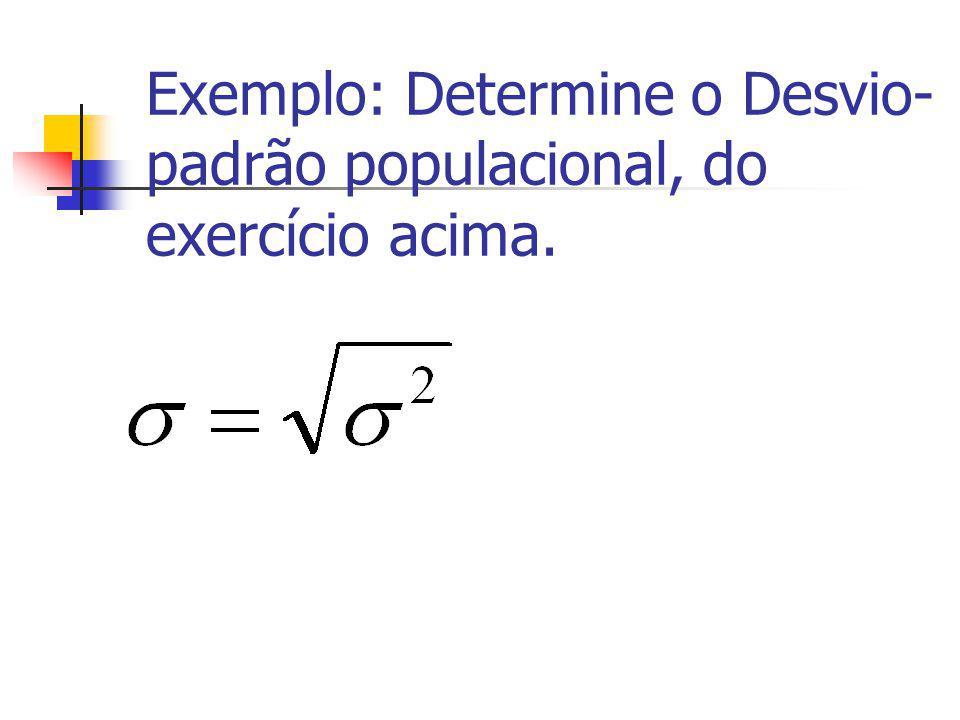 Exercício : Determine o Desvio-padrão populacional Peso (kg) Número de habitantes f 40-50 8 50-60 10 60-70 15 70-80 12 80-90 5 Total 50