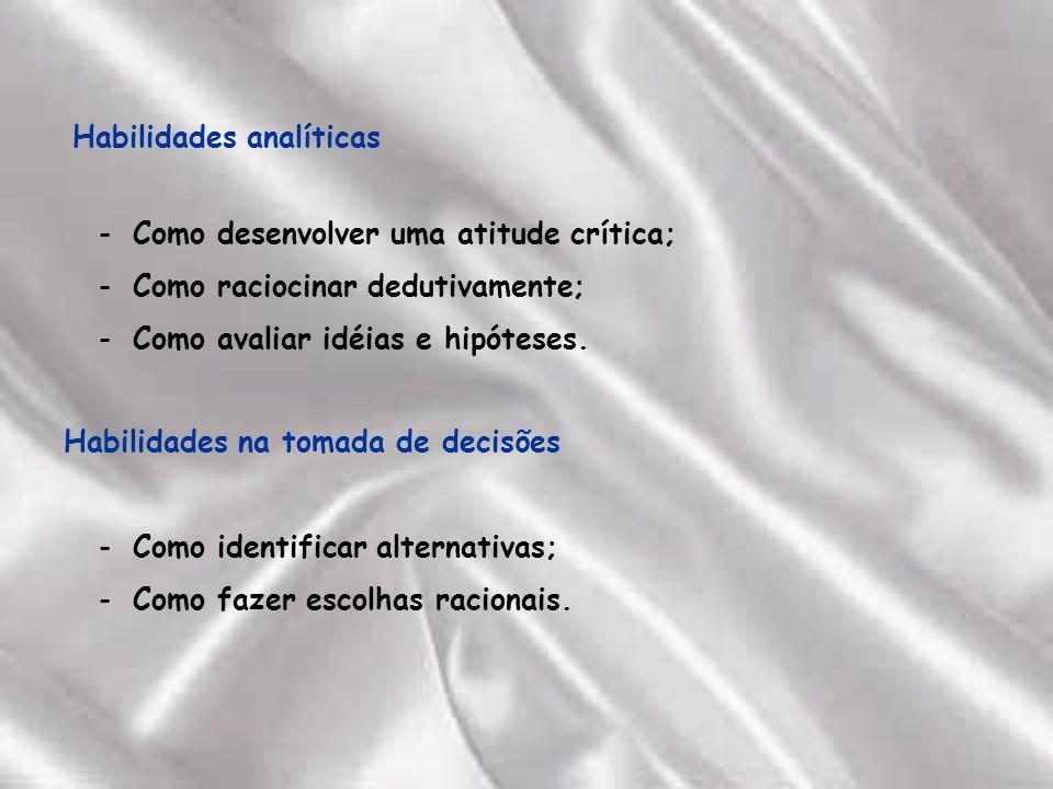 Habilidades analíticas Como desenvolver uma atitude crítica; Como raciocinar dedutivamente; Como avaliar idéias e hipóteses.