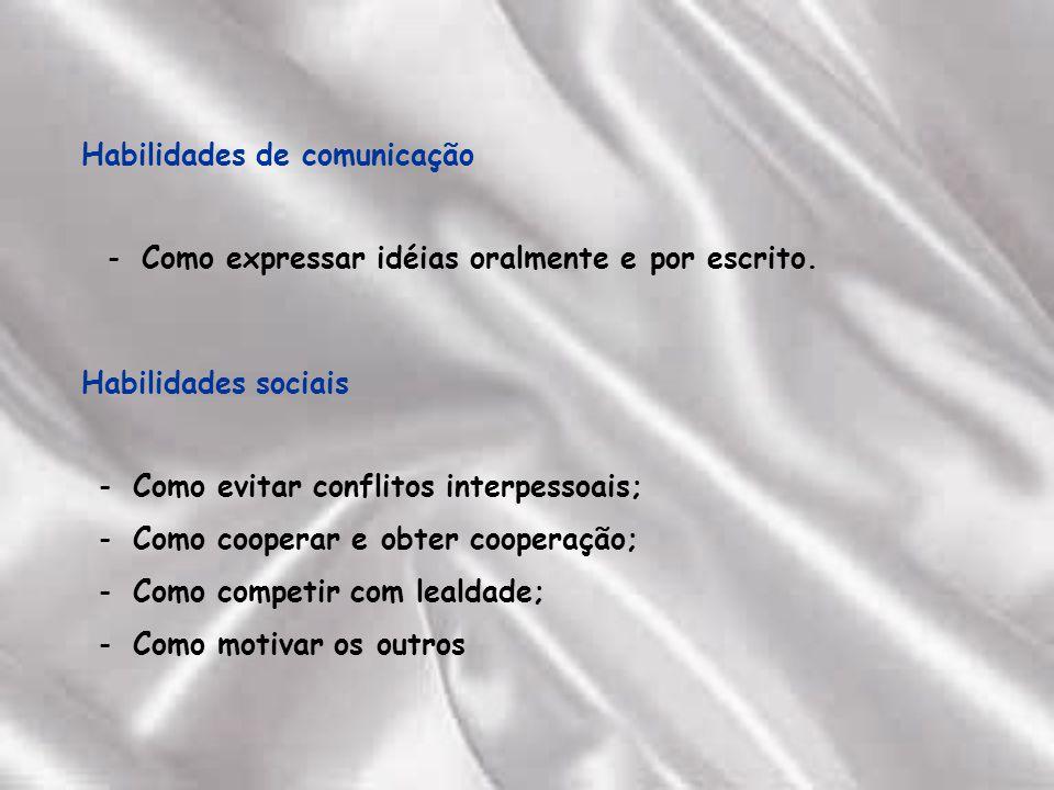 Habilidades sociais Como evitar conflitos interpessoais; Como cooperar e obter cooperação; Como competir com lealdade; Como motivar os outros Habilidades de comunicação Como expressar idéias oralmente e por escrito.