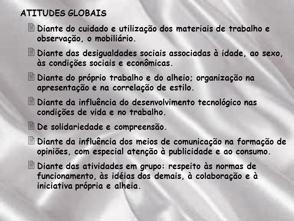 ATITUDES GLOBAIS 2 Diante do cuidado e utilização dos materiais de trabalho e observação, o mobiliário.