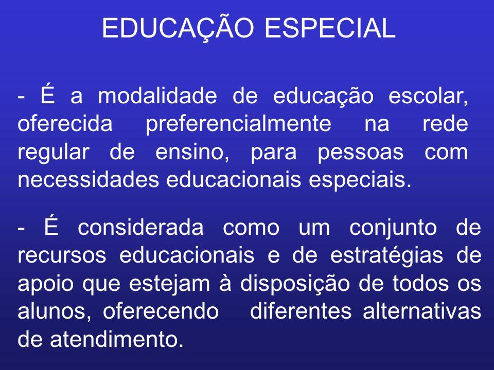 EDUCAÇÃO ESPECIAL - É a modalidade de educação escolar, oferecida preferencialmente na rede regular de ensino, para pessoas com necessidades educacion