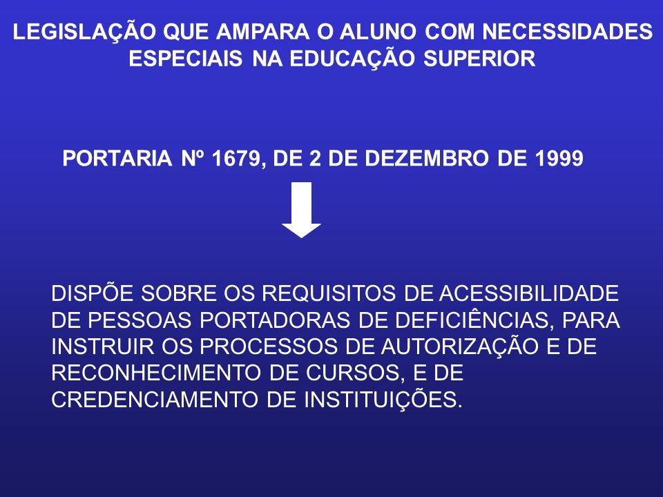 LEGISLAÇÃO QUE AMPARA O ALUNO COM NECESSIDADES ESPECIAIS NA EDUCAÇÃO SUPERIOR PORTARIA Nº 1679, DE 2 DE DEZEMBRO DE 1999 DISPÕE SOBRE OS REQUISITOS DE