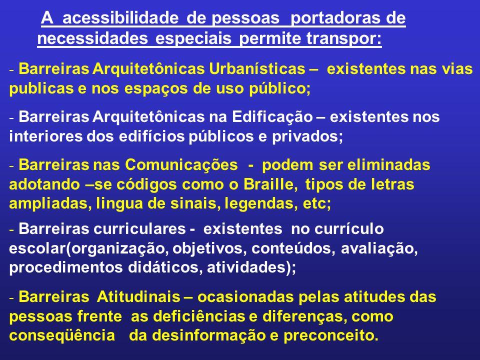 A acessibilidade de pessoas portadoras de necessidades especiais permite transpor: - Barreiras Arquitetônicas Urbanísticas – existentes nas vias publi