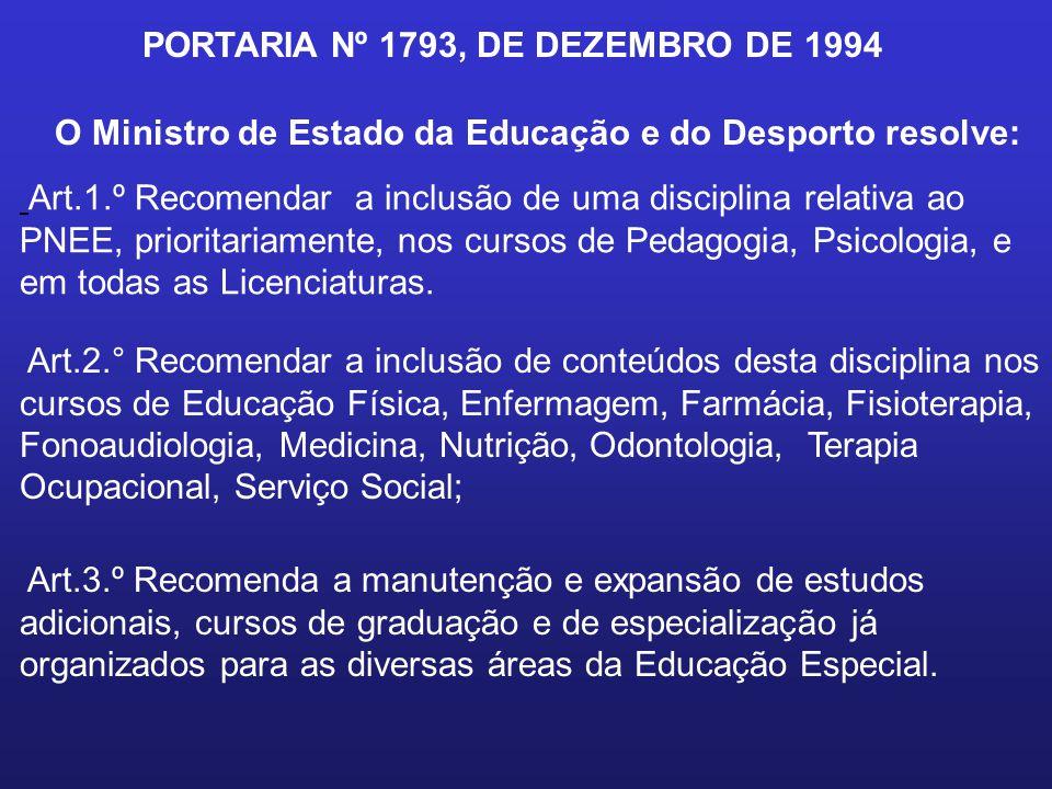 PORTARIA Nº 1793, DE DEZEMBRO DE 1994 O Ministro de Estado da Educação e do Desporto resolve: Art.1.º Recomendar a inclusão de uma disciplina relativa