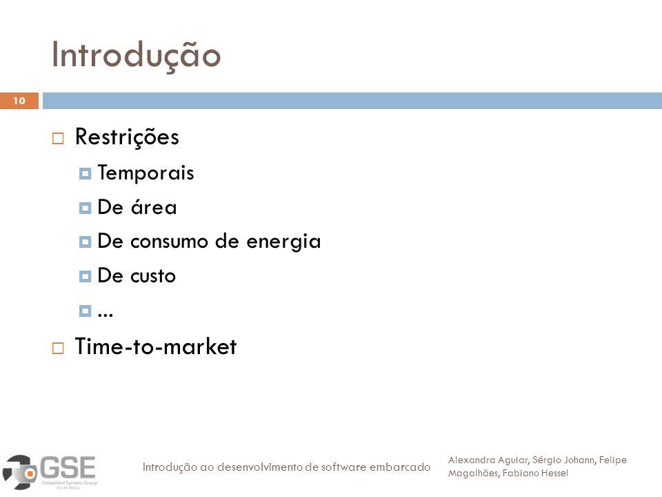 Introdução 10 Restrições Temporais De área De consumo de energia De custo... Time-to-market Alexandra Aguiar, Sérgio Johann, Felipe Magalhães, Fabiano