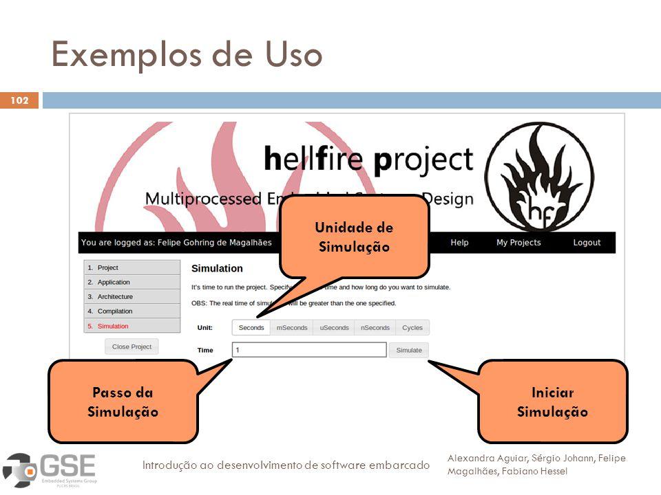 Exemplos de Uso 102 Alexandra Aguiar, Sérgio Johann, Felipe Magalhães, Fabiano Hessel Introdução ao desenvolvimento de software embarcado 30 Passo da Simulação Unidade de Simulação Iniciar Simulação