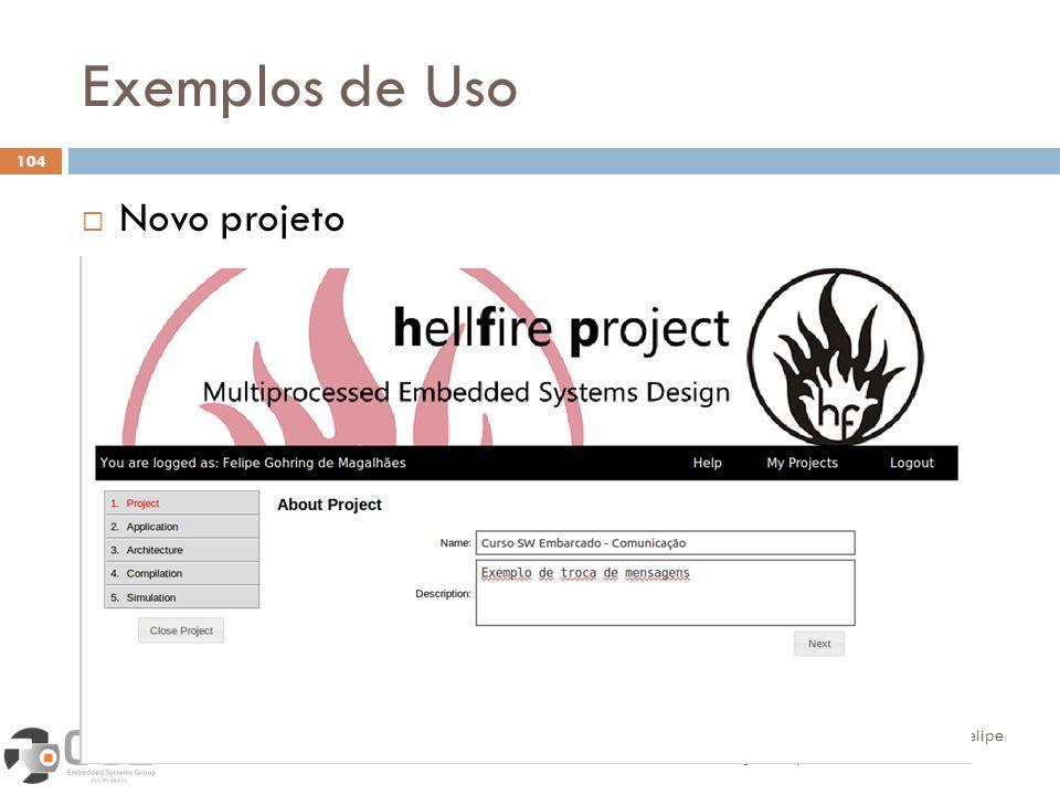 Exemplos de Uso 104 Novo projeto Alexandra Aguiar, Sérgio Johann, Felipe Magalhães, Fabiano Hessel Introdução ao desenvolvimento de software embarcado