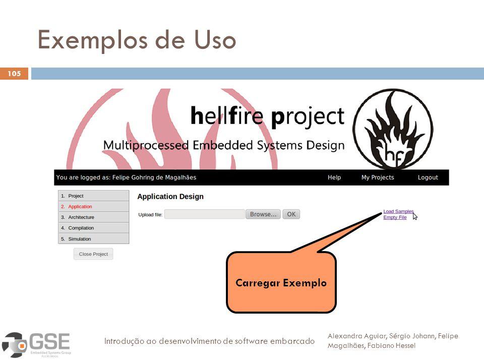 Exemplos de Uso 105 Alexandra Aguiar, Sérgio Johann, Felipe Magalhães, Fabiano Hessel Introdução ao desenvolvimento de software embarcado Carregar Exemplo