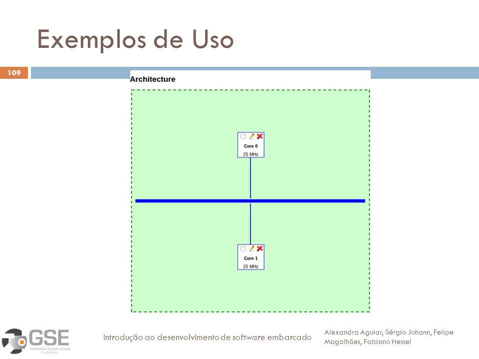 Exemplos de Uso 109 Alexandra Aguiar, Sérgio Johann, Felipe Magalhães, Fabiano Hessel Introdução ao desenvolvimento de software embarcado