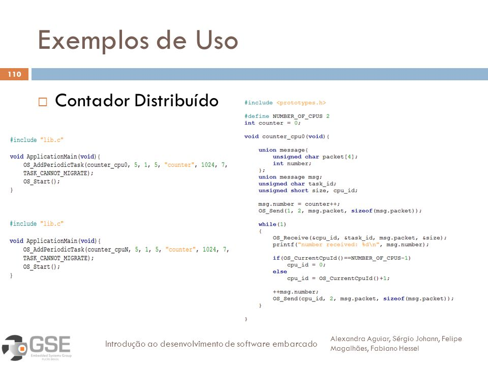 Exemplos de Uso 110 Contador Distribuído Alexandra Aguiar, Sérgio Johann, Felipe Magalhães, Fabiano Hessel Introdução ao desenvolvimento de software embarcado