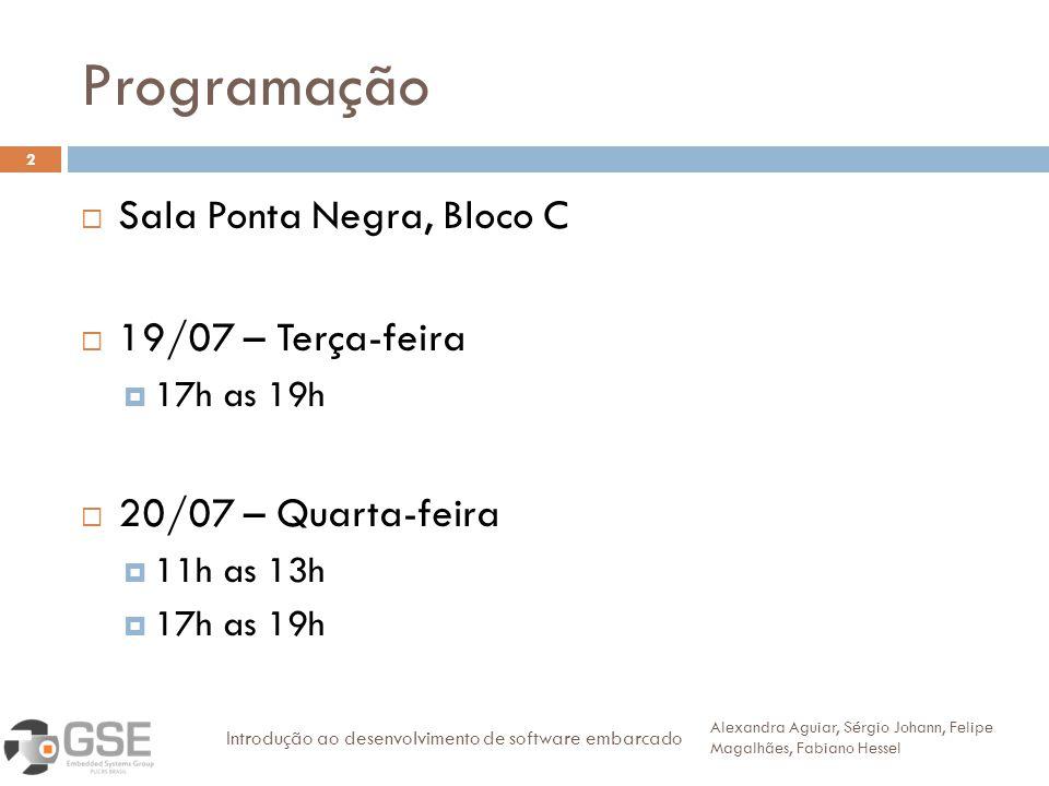 Programação 2 Sala Ponta Negra, Bloco C 19/07 – Terça-feira 17h as 19h 20/07 – Quarta-feira 11h as 13h 17h as 19h Alexandra Aguiar, Sérgio Johann, Fel