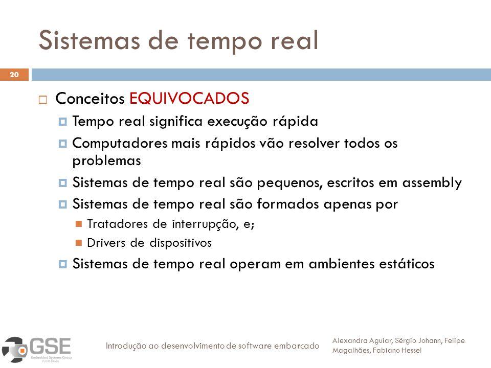 Sistemas de tempo real 20 Conceitos EQUIVOCADOS Tempo real significa execução rápida Computadores mais rápidos vão resolver todos os problemas Sistema