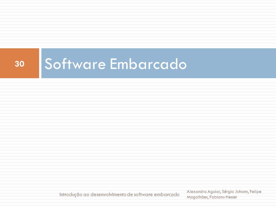 Software Embarcado 30 Alexandra Aguiar, Sérgio Johann, Felipe Magalhães, Fabiano Hessel Introdução ao desenvolvimento de software embarcado