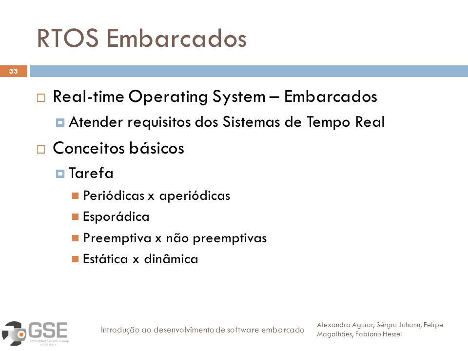RTOS Embarcados 33 Real-time Operating System – Embarcados Atender requisitos dos Sistemas de Tempo Real Conceitos básicos Tarefa Periódicas x aperiód