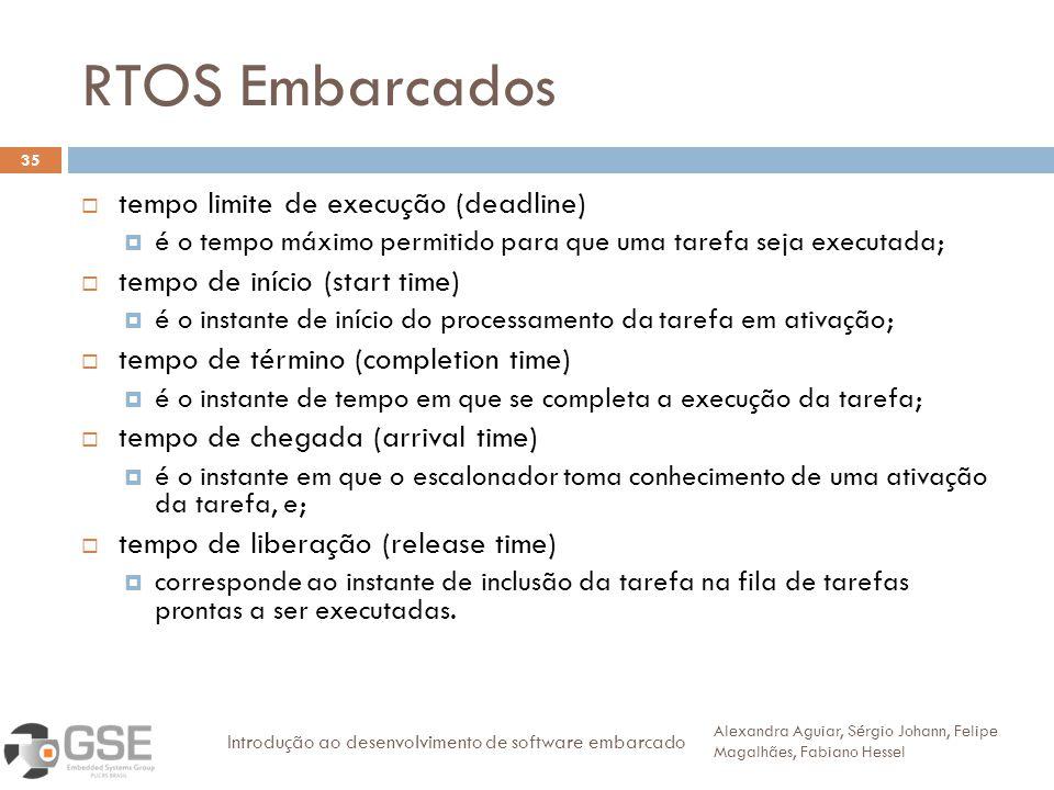 RTOS Embarcados 35 tempo limite de execução (deadline) é o tempo máximo permitido para que uma tarefa seja executada; tempo de início (start time) é o instante de início do processamento da tarefa em ativação; tempo de término (completion time) é o instante de tempo em que se completa a execução da tarefa; tempo de chegada (arrival time) é o instante em que o escalonador toma conhecimento de uma ativação da tarefa, e; tempo de liberação (release time) corresponde ao instante de inclusão da tarefa na fila de tarefas prontas a ser executadas.