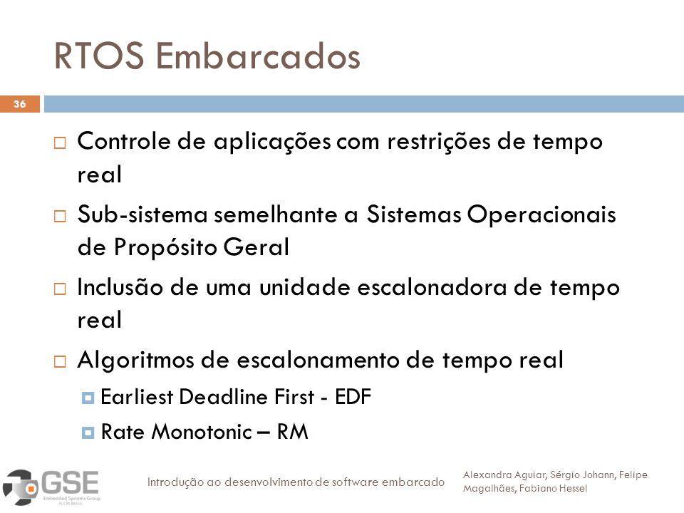 RTOS Embarcados 36 Controle de aplicações com restrições de tempo real Sub-sistema semelhante a Sistemas Operacionais de Propósito Geral Inclusão de u
