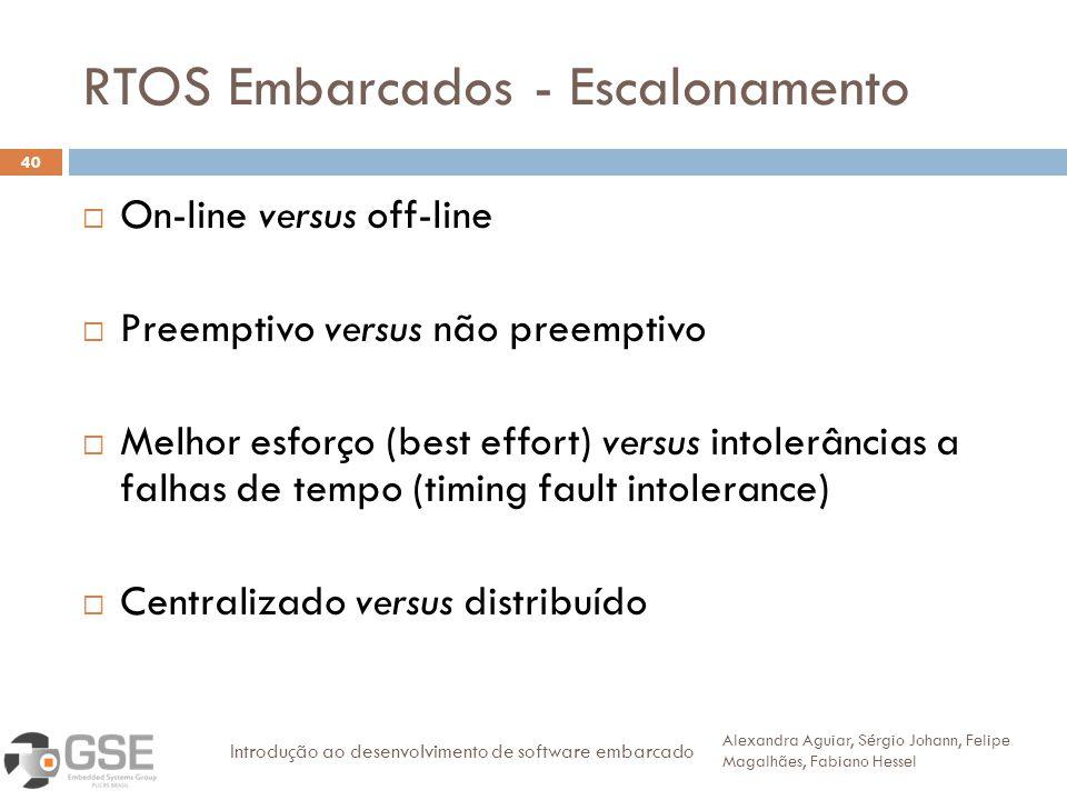 RTOS Embarcados - Escalonamento 40 On-line versus off-line Preemptivo versus não preemptivo Melhor esforço (best effort) versus intolerâncias a falhas