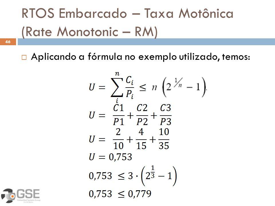 RTOS Embarcado – Taxa Motônica (Rate Monotonic – RM) 46 Aplicando a fórmula no exemplo utilizado, temos: