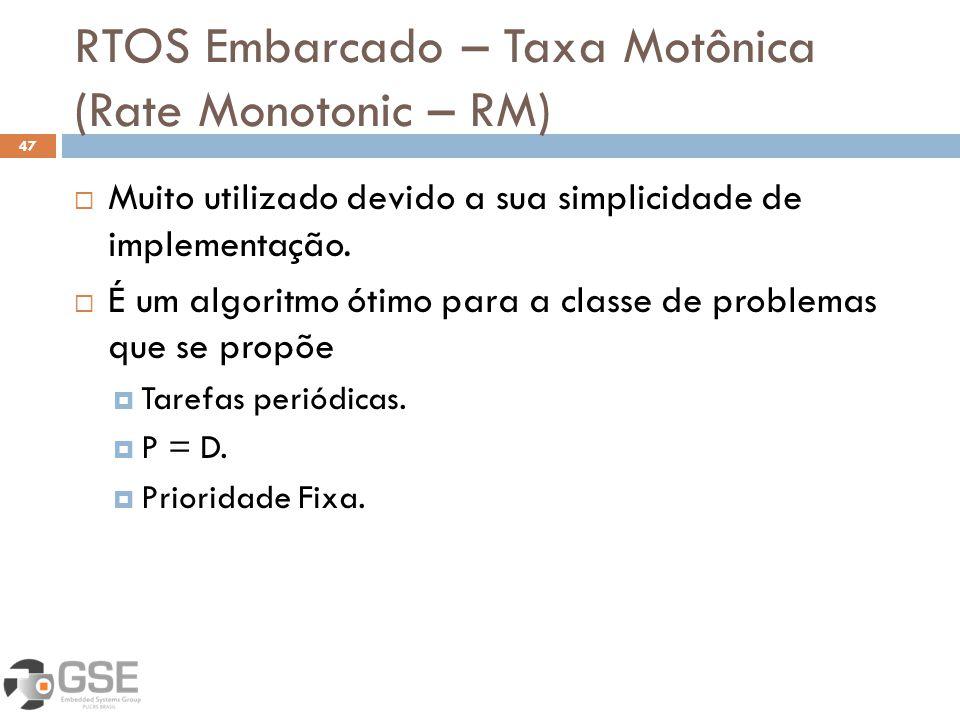 RTOS Embarcado – Taxa Motônica (Rate Monotonic – RM) 47 Muito utilizado devido a sua simplicidade de implementação. É um algoritmo ótimo para a classe