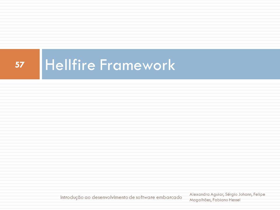 Hellfire Framework 57 Alexandra Aguiar, Sérgio Johann, Felipe Magalhães, Fabiano Hessel Introdução ao desenvolvimento de software embarcado