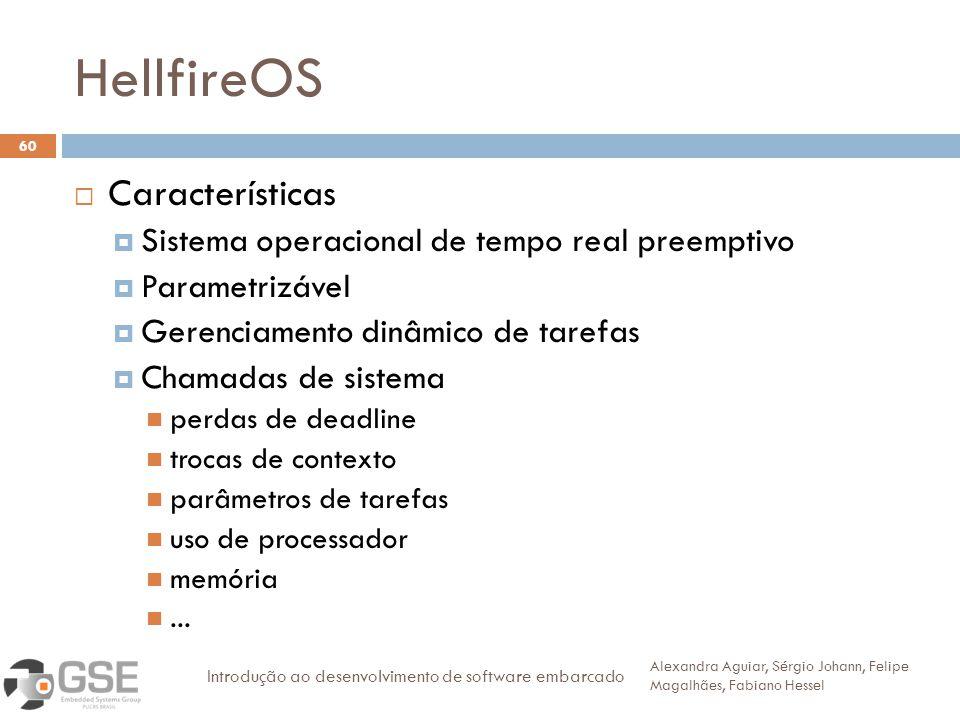 HellfireOS 60 Características Sistema operacional de tempo real preemptivo Parametrizável Gerenciamento dinâmico de tarefas Chamadas de sistema perdas de deadline trocas de contexto parâmetros de tarefas uso de processador memória...