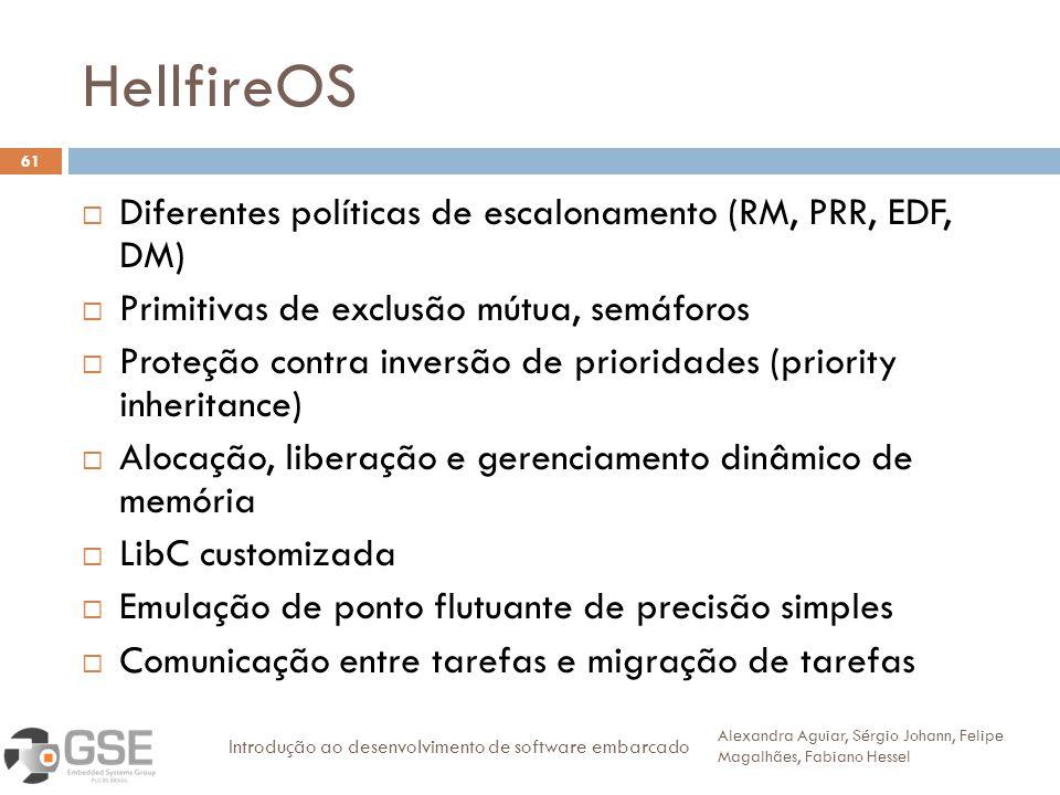 HellfireOS 61 Diferentes políticas de escalonamento (RM, PRR, EDF, DM) Primitivas de exclusão mútua, semáforos Proteção contra inversão de prioridades
