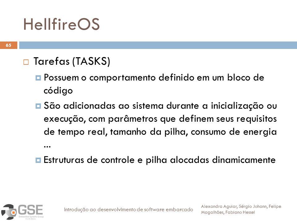 HellfireOS 65 Tarefas (TASKS) Possuem o comportamento definido em um bloco de código São adicionadas ao sistema durante a inicialização ou execução, com parâmetros que definem seus requisitos de tempo real, tamanho da pilha, consumo de energia...